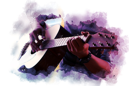 Abstracte mooie man gitaar spelen op de voorgrond op aquarel achtergrond en digitale illustratie penseel naar kunst.