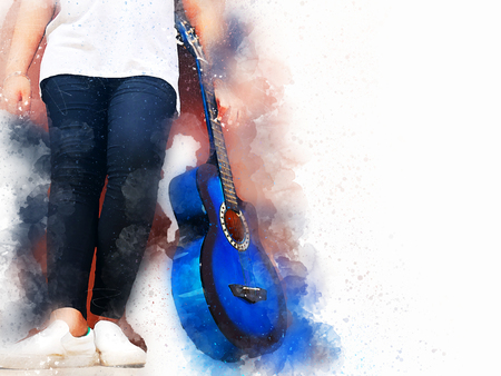 Abstract beautiful playing acoustic Guitar in the foreground on Watercolor painting background and Digital illustration brush to art.