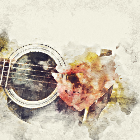 Abstract beautiful playing Guitar in the foreground on Watercolor painting background and Digital illustration brush to art. Фото со стока - 106286755