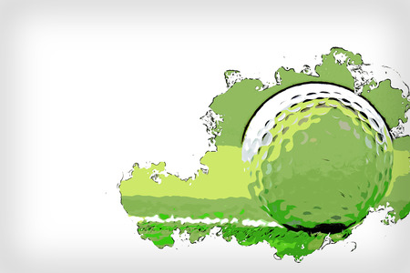 Abstract Golf ball on watercolor painting background.