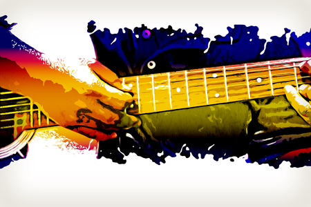 Abstract beautiful playing acoustic Guitar in the foreground on   background and Digital illustration brush to art.