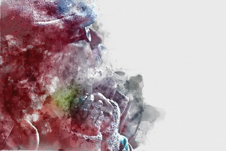 Abstract Homeless man portrait watercolor illustration painting  background. Stock Photo