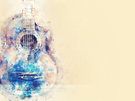 Abstract beautiful acoustic guitar in the foreground on Watercolor painting background and Digital illustration brush to art. Banco de Imagens
