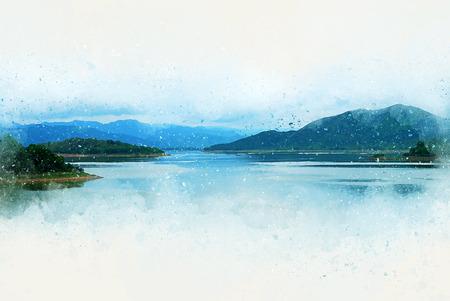 Abstrakte bunte Berggipfel und Fluss auf Aquarellillustrationsmalereihintergrund. Standard-Bild