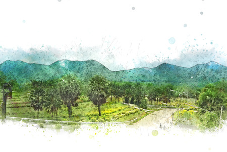 Abstract colorful mountain and field landscape on watercolor illustration painting background.