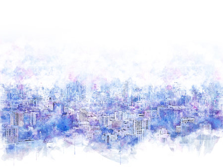 Abstract Beautiful capital city in the sunrise evening on watercolor illustration painting background.
