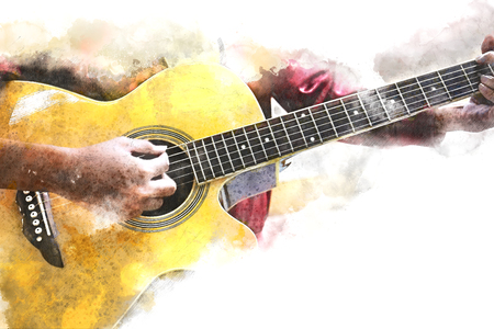 Close up beautiful woman playing acoustic guitar on watercolor illustration painting background. 스톡 콘텐츠