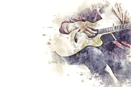 Close-up women playing acoustic guitar on walking street on watercolor illustration painting background.
