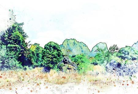 Abstrakte Farbe Berggipfel und Baum Aquarell Illustration Malerei Hintergrund. Standard-Bild