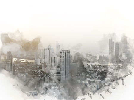 Abstract offices Building in the city on watercolor painting background. City on Digital illustration brush to art. 版權商用圖片