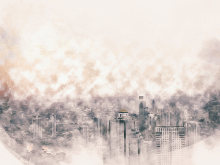 Beautiful capital city in the sunrise evening on watercolor illustration painting background.