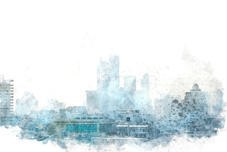 Abstract building in the city on watercolor illustration painting background.