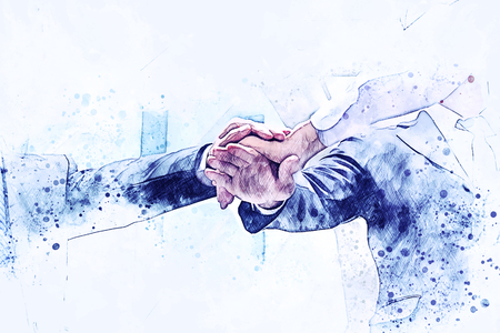 Abstract handshake business on watercolor illustration painting background. Stock Photo