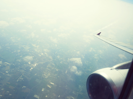 Beautiful Top view on plane at the city scape in Thailand.