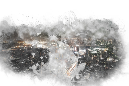 Abstract offices Building in the city on watercolor painting background. City on Digital illustration brush to art. 写真素材