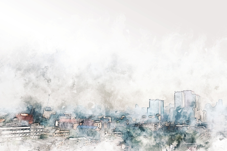 abstract colorful shape cityscape on watercolor illustration painting background.