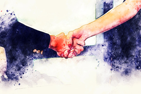 Abstract close-up colorful handshake business on watercolor illustration painting background, business teamwork concept. Stockfoto