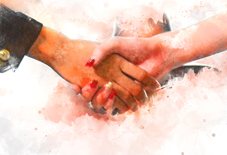Abstract business handshake concept watercolor illustration painting background.
