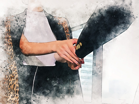 Abstract business woman handshake on watercolor illustration painting background.