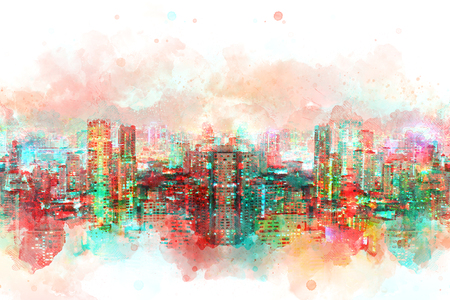 Abstract offices Building in the city on watercolor painting background. City on Digital illustration brush to art. Stock Photo