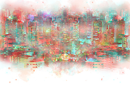 Abstract offices Building in the city on watercolor painting background. City on Digital illustration brush to art. Stok Fotoğraf