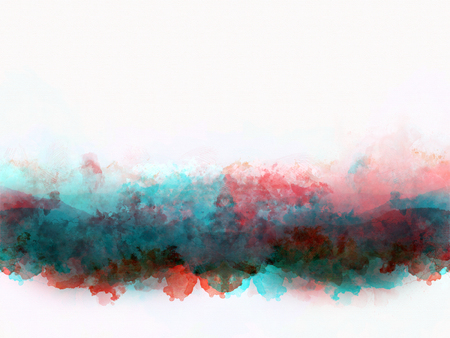 Abstract colorful shape on mountain range watercolor illustration painting background.