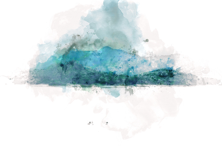Abstract colorful shape on mountain peak and tree landscape on watercolor illustration painting background.