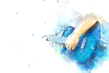 Abstract beautiful man playing acoustic Guitar in the foreground on Watercolor painting background and Digital illustration brush to art.