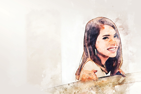 Abstract woman smile portrait watercolor illustration painting background.