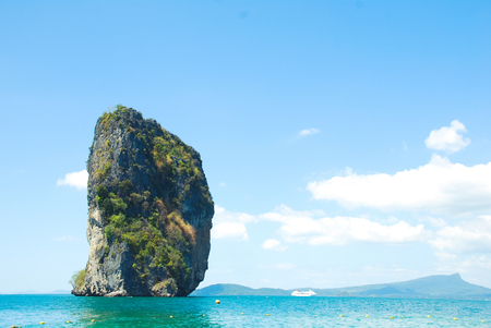 Beautiful Mountain range and sea water in Krabi, Thailand.
