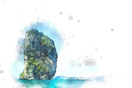 Beautiful Mountain range and sea water in Krabi, Thailand on watercolor illustration painting background.