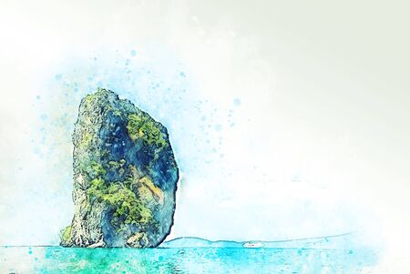 Beautiful Mountain range and sea water in Krabi, Thailand on watercolor illustration painting background. Imagens - 125607633