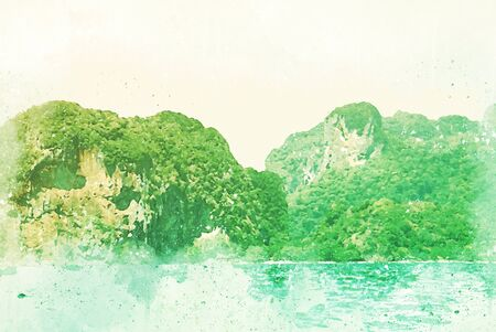 Abstract colorful beautiful Mountain range and sea water in Krabi, Thailand on watercolor illustration painting background.