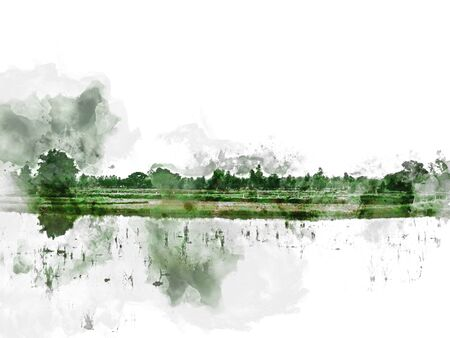 Abstract colorful beautiful green field landscape and tree in morning at Thailand on watercolor illustration painting background. Stok Fotoğraf - 126949724