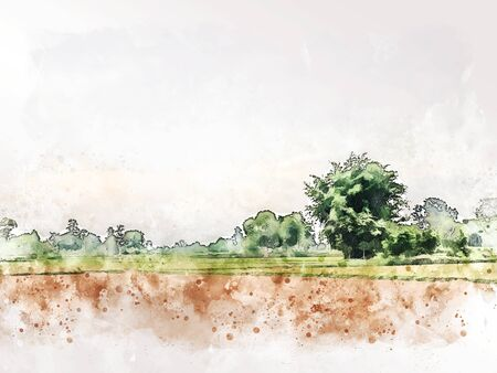 Abstract colofrul tree land field landscape on watercolor illustration painting background. Stok Fotoğraf - 126949727