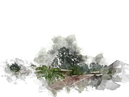 Abstract colorful shape tree landscape and house building on watercolor illustration painting background. Stok Fotoğraf - 126951344