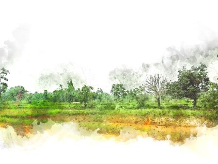 Abstract colofrul tree land field landscape on watercolor illustration painting background. Stok Fotoğraf - 126951356