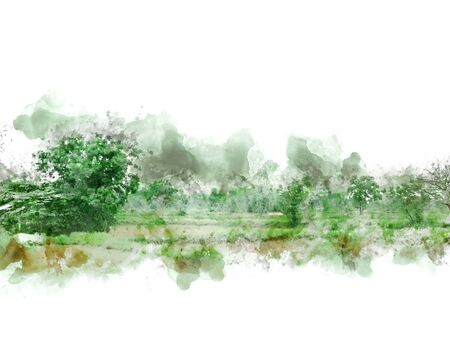 Abstract colofrul tree land field landscape on watercolor illustration painting background. Stok Fotoğraf - 126951352