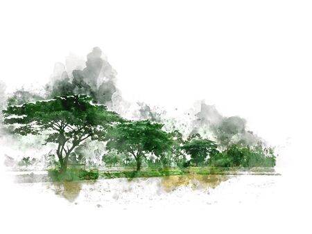 Abstract colofrul tree land field landscape on watercolor illustration painting background. Stok Fotoğraf - 126951353