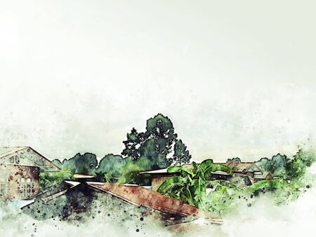 Abstract colorful shape tree landscape and house building on watercolor illustration painting background. Stok Fotoğraf - 126951357