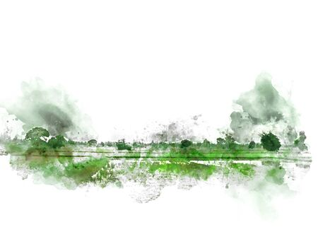 Abstract colorful beautiful green field landscape and tree in morning at Thailand on watercolor illustration painting background. Stok Fotoğraf - 126951355