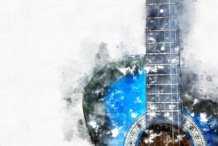 Abstract beautiful playing acoustic Guitar in the foreground on Watercolor painting background and Digital illustration brush to art. Stok Fotoğraf - 126951358