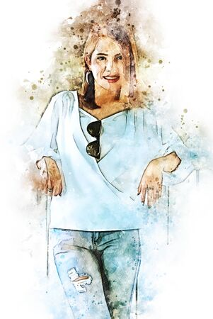 Abstract colorful beautiful Asia woman face smile and traveling on walking street in the capital city on holiday weekend on watercolor illustration painting background. Stok Fotoğraf - 126951362