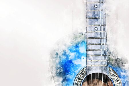 Abstract beautiful playing acoustic Guitar in the foreground on Watercolor painting background and Digital illustration brush to art. Stok Fotoğraf - 126951422