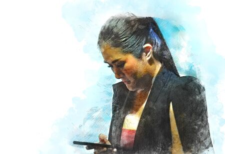 Abstract beautiful business woman looking smart phone for working on watercolor illustration painting background. Stok Fotoğraf - 126951428
