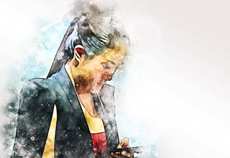 Abstract beautiful business woman looking smart phone for working on watercolor illustration painting background. Stok Fotoğraf - 126951429