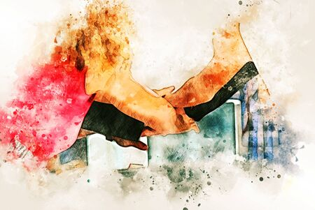 Abstract Business person handshake on watercolor illustration painting background. Stok Fotoğraf - 126951431