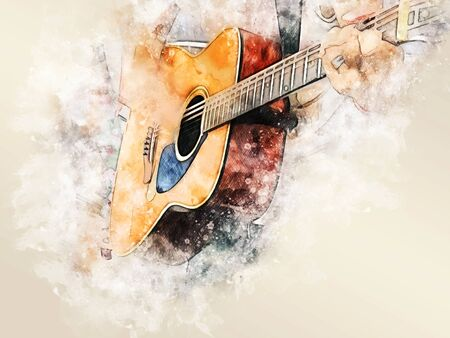 Abstract colorful shape on acoustic Guitar in the foreground on Watercolor painting background and Digital illustration brush to art.