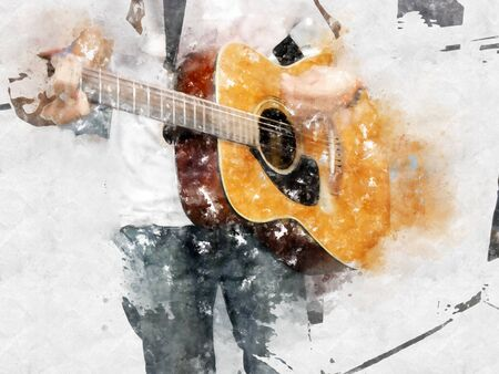 Abstract colorful shape on playing acoustic guitar on watercolor illustration painting background.