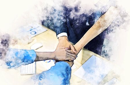 Abstract Join hands business concept and handshake concept on watercolor painting background.